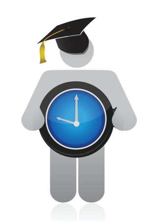 doctorate: graduate holding clock illustration design over a white background Illustration