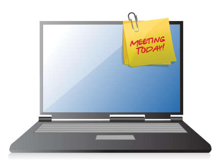 meeting today post it on a laptop illustration design
