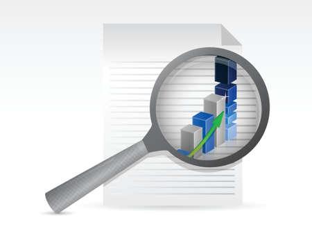 bank statement: business graph on paper under magnifying glass illustration Illustration