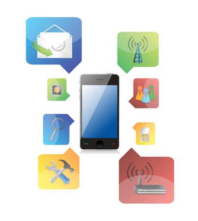 multimedia icons: smart phone with icons illustration design on white background