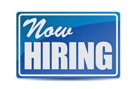 help wanted: Now Hiring retail store window style sign illustration Illustration