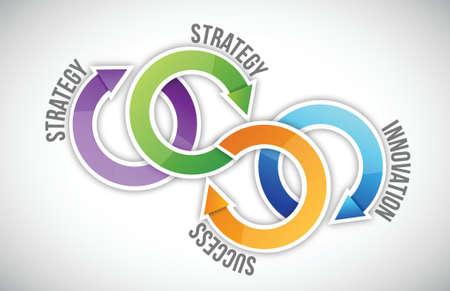 Four key of strategy illustration design over a white background