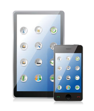 multimedia background: Tablet pc and smart phone with icons on white background Illustration