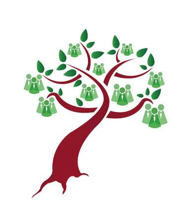 apoyo social: gente árbol verde ilustración diseño sobre un fondo blanco