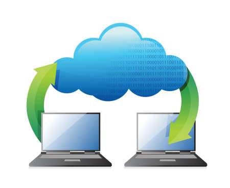 laptop transferring to cloud illustration design over a white background