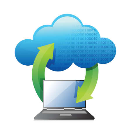 laptops transferring to cloud illustration design over a white background Illusztráció