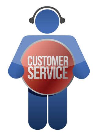 Customer support icon with headphones illustration design