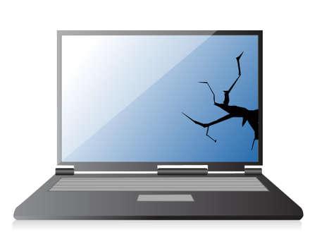 damaged: broken laptop illustration design over a white background