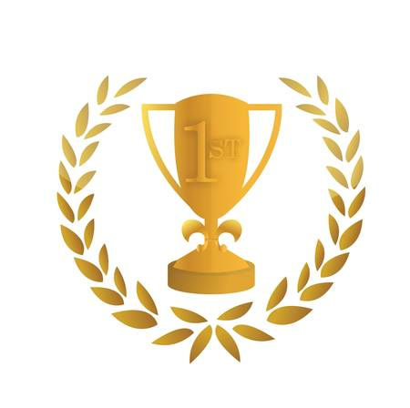 award winning: Golden trophy leaves illustration design over a white background