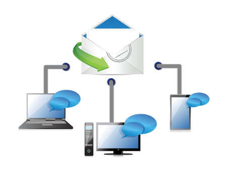 multimedia background: mail connection illustration design on white background