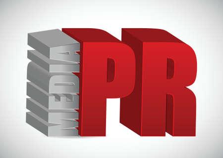 pr: Advertising concept. media PR illustration design over white Illustration