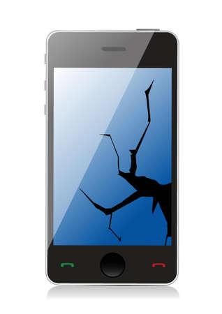phone handset: Cracking schermo del telefono, illustrazione, disegno su uno sfondo bianco Vettoriali