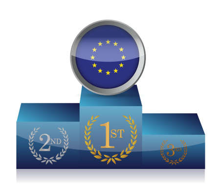 Europe winners podium illustration design on white background Vector
