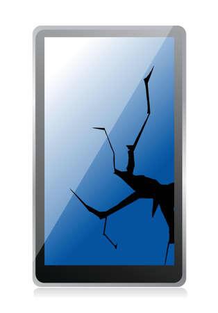 broken tablet illustration design over a white background Иллюстрация
