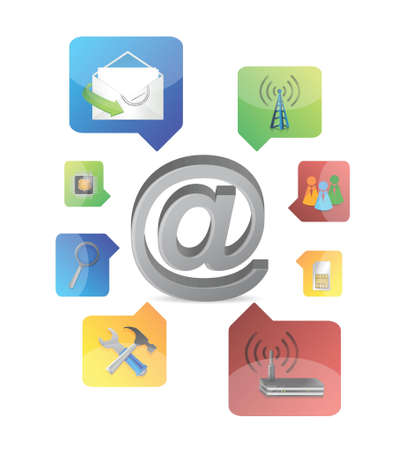 at sign with icons illustration design on white background Иллюстрация