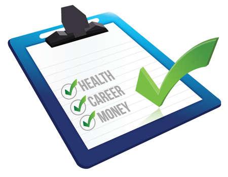 vragenlijst interview over gezondheid carrière en geld illustratie ontwerp Stock Illustratie