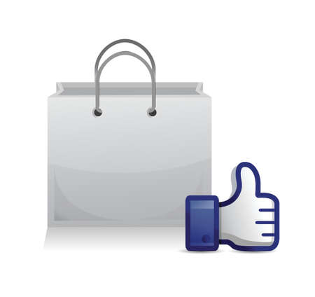confirm: shopping bag thumb up illustration design over a white background Illustration