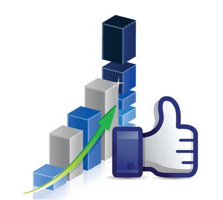 validate: Business graph thumb up illustration design over a white background