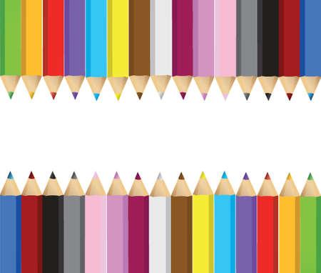 color pencils banner frame illustration design over white background Vector