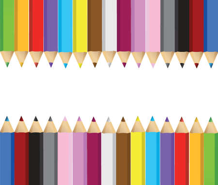 color pencils banner frame illustration design over white background Ilustração