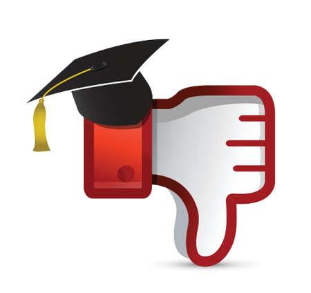 disapprove: education Dislike Icon. Thumb down Sign illustration design