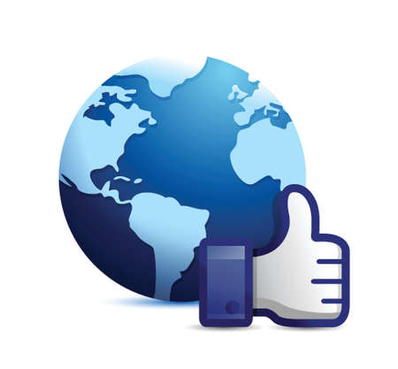 validate: earth globe thumb up illustration design over a white background