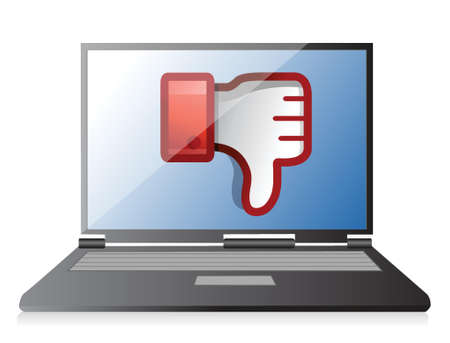 disapprove: laptop Dislike Icon. Thumb down Sign illustration design