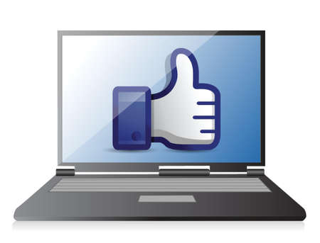 validate: laptop computer thumb up illustration design over a white background