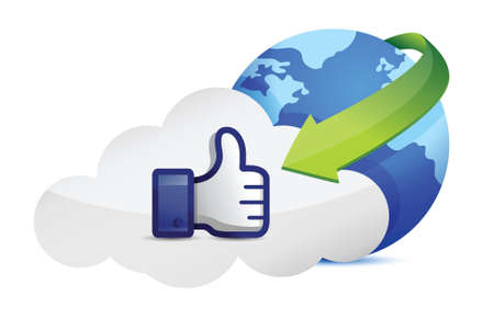validate: cloud computing thumb up illustration design over a white background