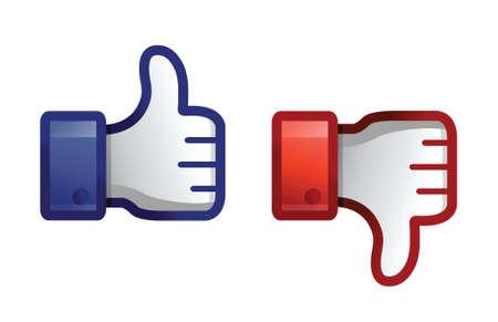 dislike: dreun up & duim omlaag illustratie ontwerp over wit Stock Illustratie