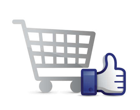 hand cart: shopping cart thumb up illustration design over a white background