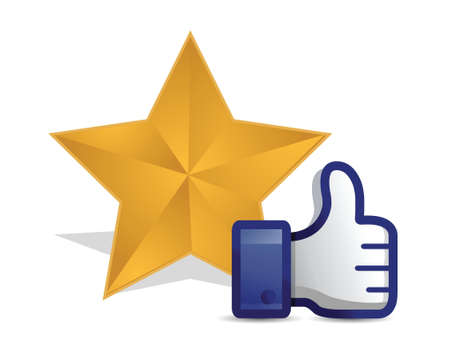 validate: quality star review thumb up illustration design over a white background
