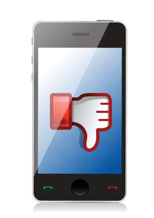 phone button: phone Dislike Icon. Thumb down Sign illustration design
