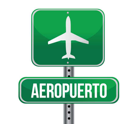 Road sign shows direction of a nearby airport illustration Vector