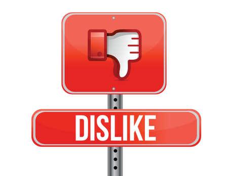 disapprove: Dislike road sign. Thumb down Sign illustration design Illustration