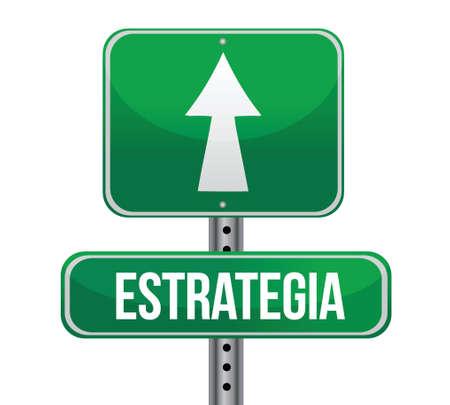 planning in Spanish road sign illustration design Stock Vector - 18158788