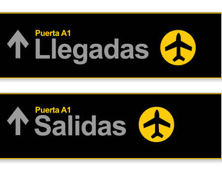 Arrival and departures airport signs in Spanish isolated over a white background. Vector