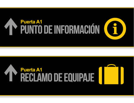 Help desk and baggage airport signs in Spanish illustration Çizim