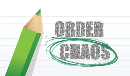 selecting between order and chaos illustration design over white