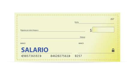 Salary check in spanish illustration design over white Vector