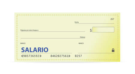 justify: Salary check in spanish illustration design over white Illustration