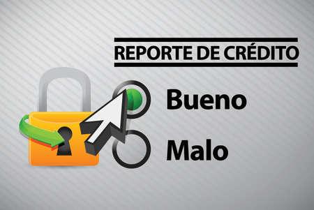 Credit Report selection in Spanish illustration design