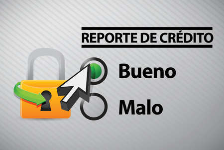 credit report: Credit Report selection in Spanish illustration design