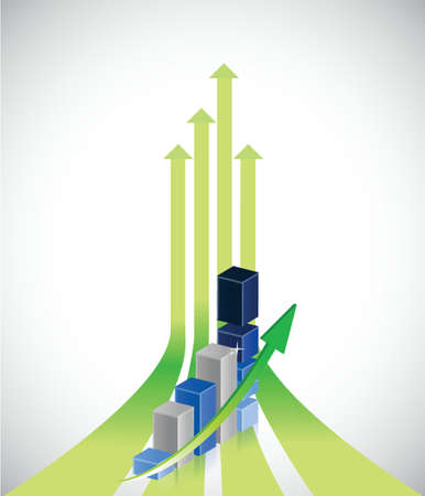 up arrows and positive business graph illustration design Vector