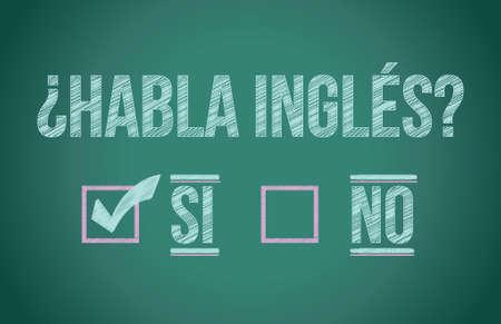 meaning: �Habla Ingl�s en espa�oles ilustraci�n dise�o gr�fico