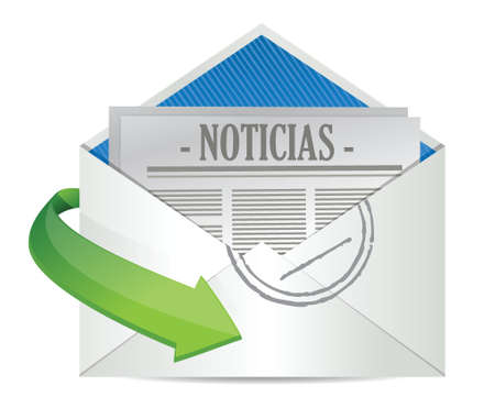 article icon: Open Envelope with News Paper inside in Spanish illustration design Illustration