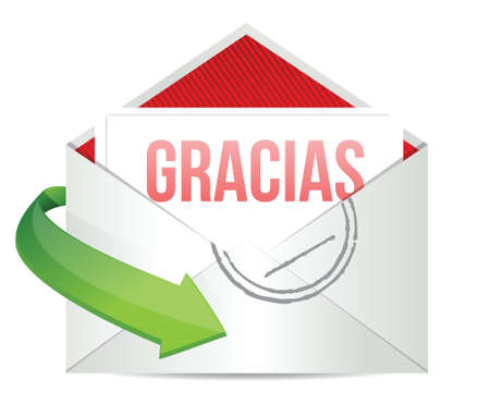 gracious: Thank You gratitude card envelope in spanish illustration design over white