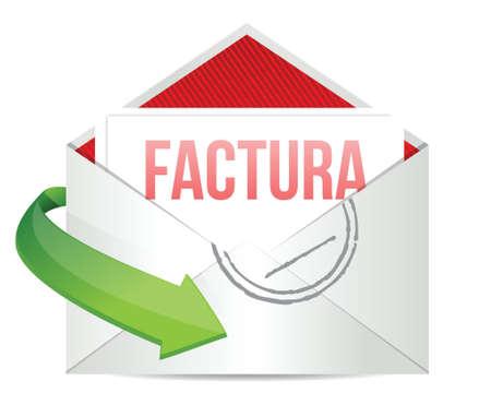 debt collection: invoice inside an envelope in Spanish illustration design