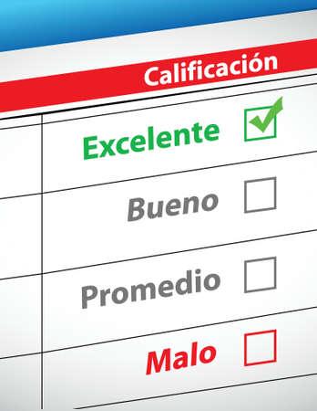 bad service: feedback selection concept in Spanish illustration design Illustration