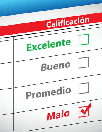 rating: feedback selection concept in Spanish illustration design Illustration